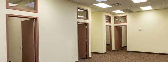 4646 Dufferin St. office hallway, North York Office Space with new expansion