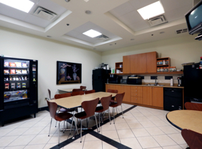 The full kitchen at 4646 Dufferin St., available to our North York office space tenants